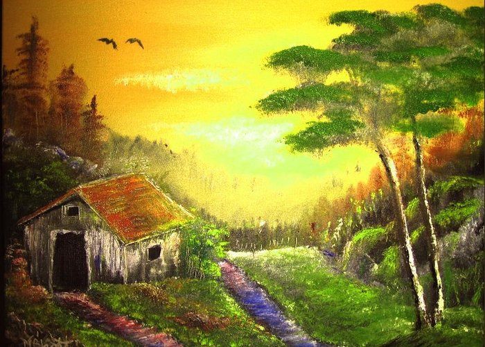 Forest Greeting Card featuring the painting The Forest House by M Bhatt