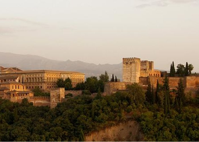 Alhambra Greeting Card featuring the photograph The Fortress On The Hill by Mountain Dreams