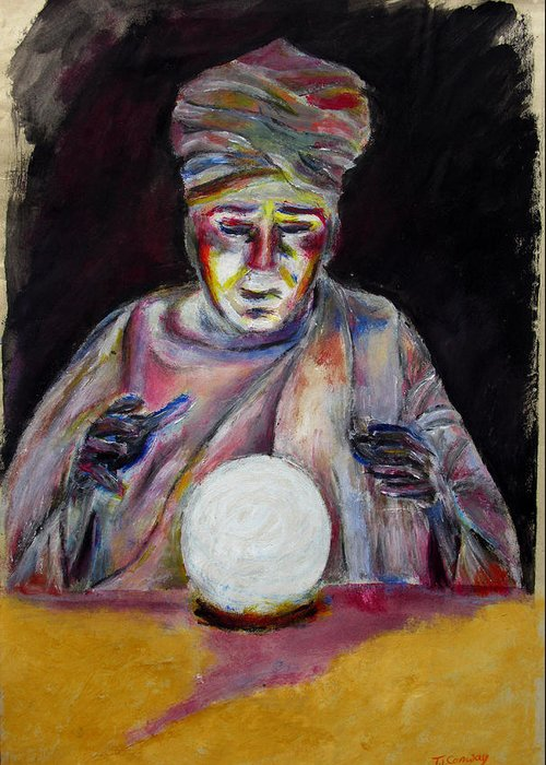 Fortune Tellers Greeting Card featuring the painting The Fortune Teller by Tom Conway