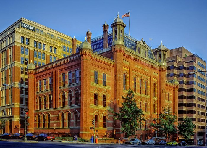Washington D.c. Greeting Card featuring the photograph The Franklin School - Washington Dc by Mountain Dreams