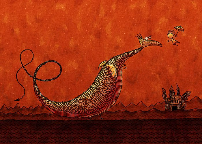Abstract Greeting Card featuring the drawing The Friendly Dragon by Gianfranco Weiss