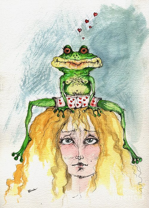 Watercolor Greeting Card featuring the painting The Frog And The Princess by Angel Ciesniarska