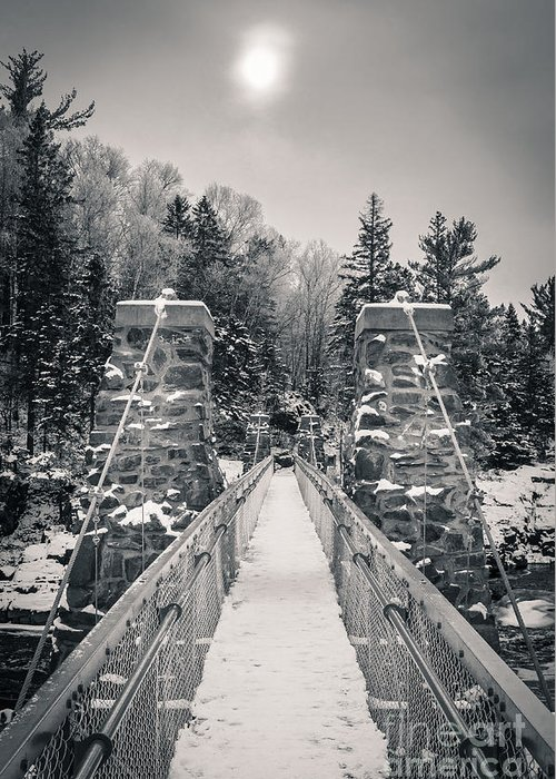 Swinging Bridge Greeting Card featuring the photograph The Frost Across by Ever-Curious Photography
