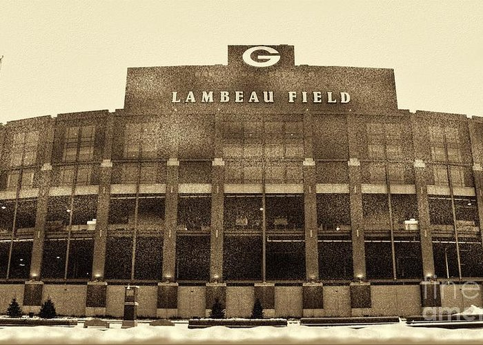 Lambeau Field Greeting Card featuring the photograph The Frozen Tundra by Tommy Anderson