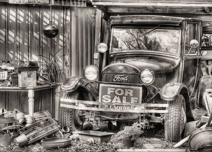 The Garage Sale Greeting Card featuring the photograph The Garage Sale Black And White by JC Findley