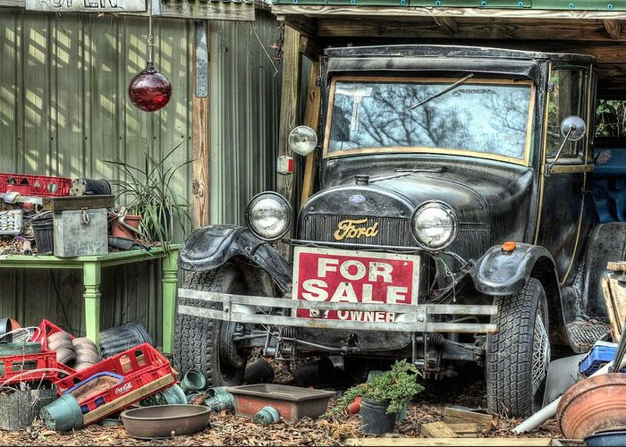 The Garage Sale Greeting Card featuring the photograph The Garage Sale by JC Findley