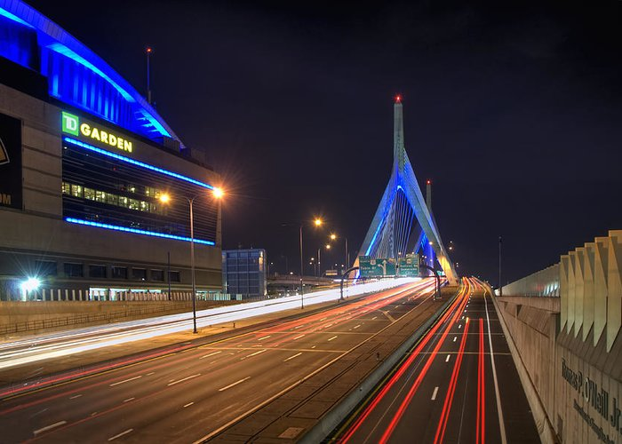 Boston Greeting Card featuring the photograph The Garden And The Zakim by Joann Vitali