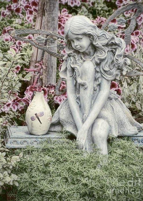 Garden Greeting Card featuring the photograph The Garden Fairy by Peggy Hughes