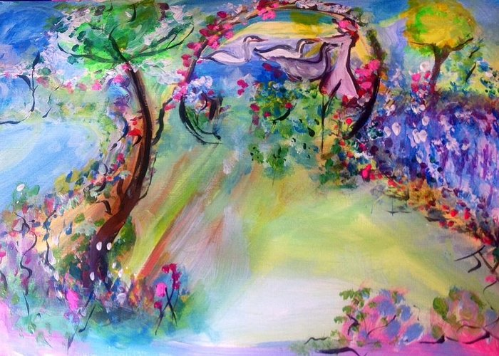 Garden Greeting Card featuring the painting The Garden Grew More Beautiful As Did She by Judith Desrosiers