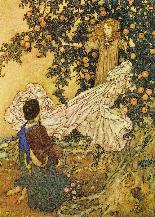 Edmund Dulac Greeting Card featuring the digital art The Garden Of Paradise IIi by Edmund Dulac