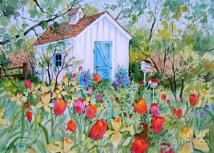 Garden Greeting Card featuring the painting The Garden Shed by Sherri Crabtree