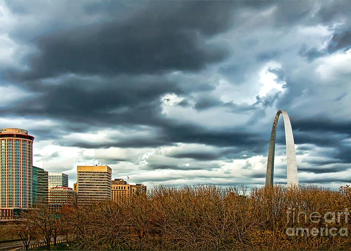 Gateway Arch Greeting Card featuring the photograph The Gateway Arch Downtown St. Louis by Cindy Tiefenbrunn