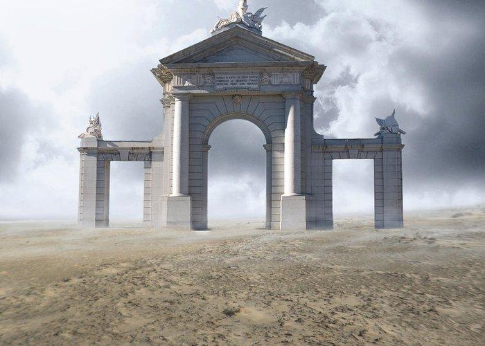 Desert Greeting Card featuring the digital art The Gateway by Cheryl Heffner