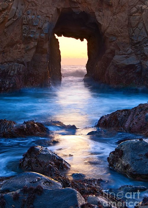 Arch Rock Greeting Card featuring the photograph The Gateway - Sunset On Arch Rock In Pfeiffer Beach Big Sur In California. by Jamie Pham