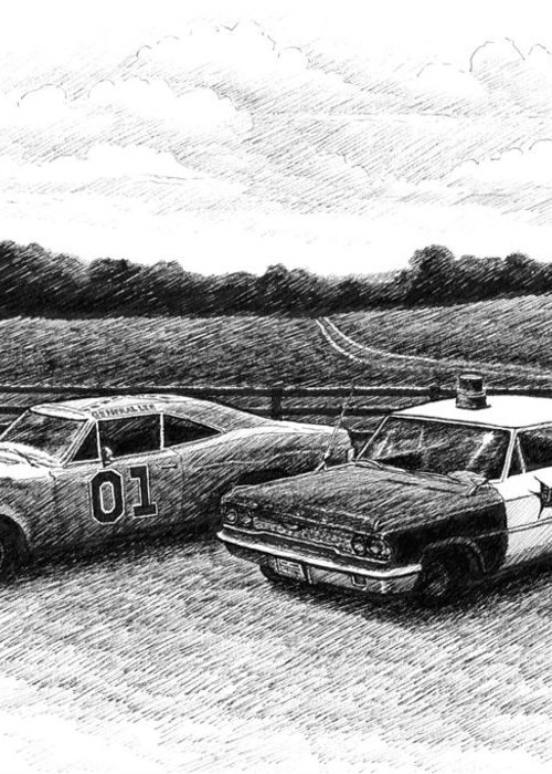 The General Lee Greeting Card featuring the drawing The General Lee And Barney Fife's Police Car by Janet King
