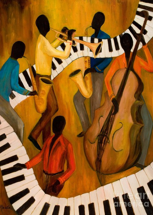 Jazz Greeting Card featuring the painting The Get-down Jazz Quintet by Larry Martin