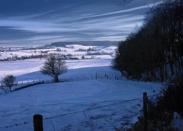 Geul Epen Zuid Limburg Netherlands Bovenste Bos Sippenaeken Chateau Beusdael Briex Landscape Snow Winter Greeting Card featuring the painting The Geul Valley Near Epen by Nop Briex