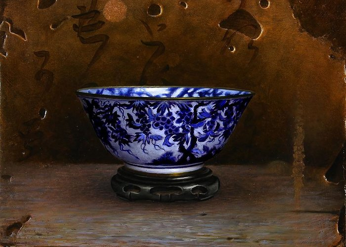 Vase Greeting Card featuring the painting The Gilded Moon by Bruno Capolongo
