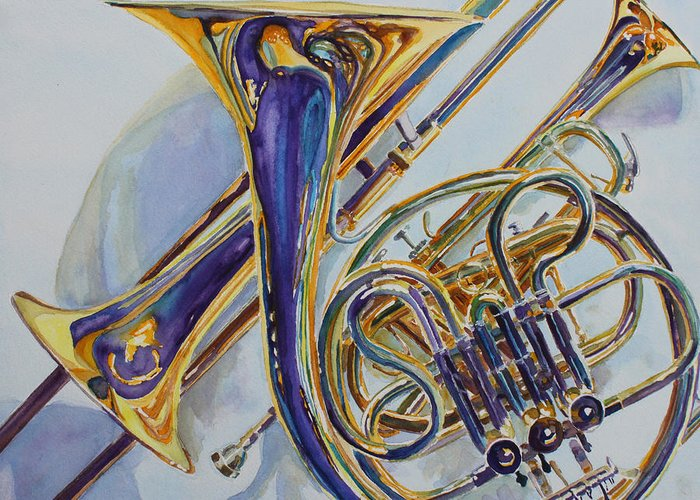Brass Greeting Card featuring the painting The Glow Of Brass by Jenny Armitage