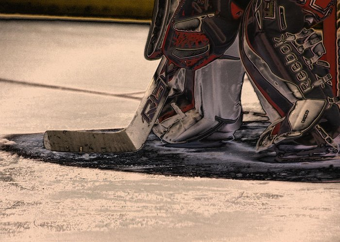 Hockey Greeting Card featuring the photograph The Goalies Crease by Karol Livote