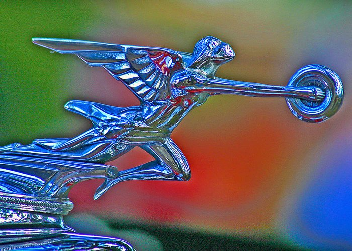 Packard Hood Ornament Greeting Card featuring the photograph The Goddess by Jean Noren