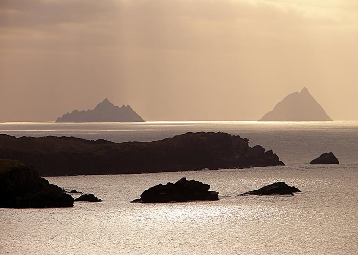 Gold Greeting Card featuring the photograph The Gold Skelligs by Mark Callanan