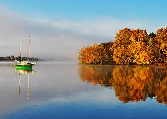 An Autumn Mist Encapsulates Belleisle Bay And A Late Season Sailboat In Rural Kings County Greeting Card featuring the photograph The Golden Calm by Derek Grant