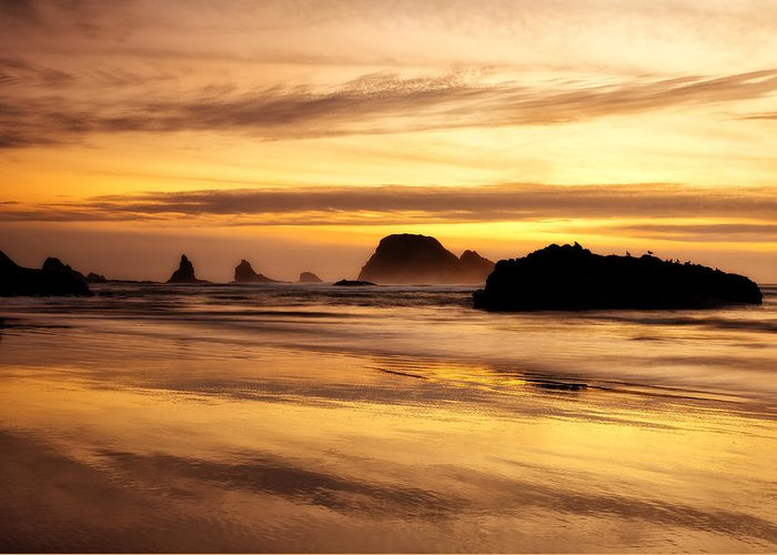 Sunset Greeting Card featuring the photograph The Golden Coast by Darren White