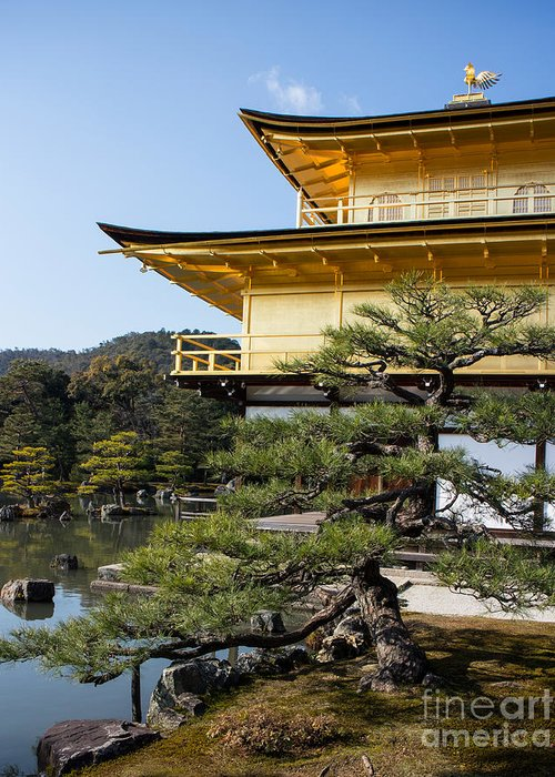Golden Temple Greeting Card featuring the photograph The Golden Temple Of Kyoto Japan by Natural Focal Point Photography