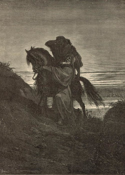Biblical Greeting Card featuring the drawing The Good Samaritan by Antique Engravings