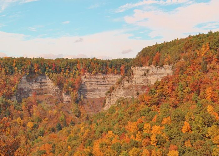 Fall Greeting Card featuring the photograph The Gorge In Autumn by Laurie Tracy