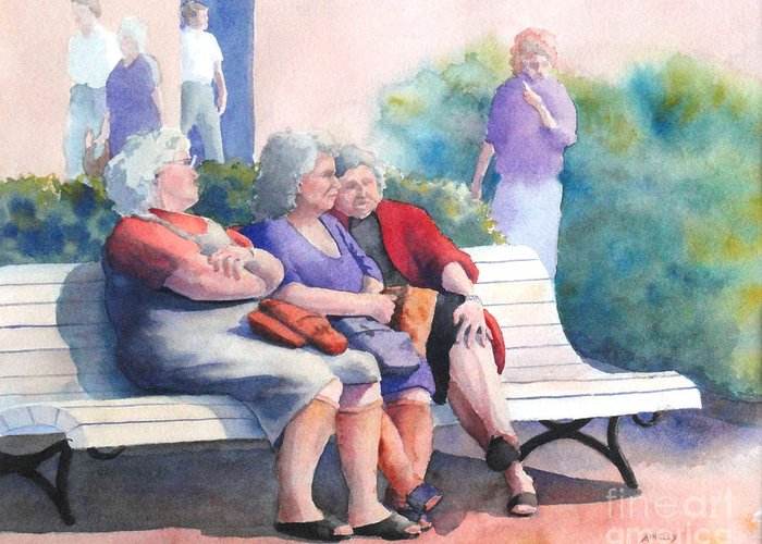 Old Women Greeting Card featuring the painting The Gossip Bench by Ainsley McNeely