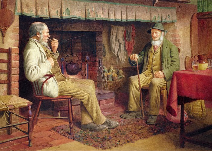 Old Man Greeting Card featuring the painting The Gossip by Henry Spernon Tozer