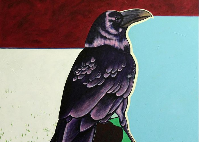 Wildlife Greeting Card featuring the painting The Gossip - Raven by Joe Triano