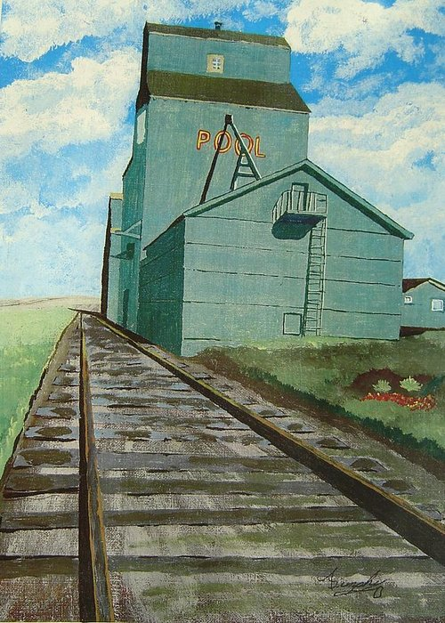 Elevator Greeting Card featuring the painting The Grain Elevator by Anthony Dunphy