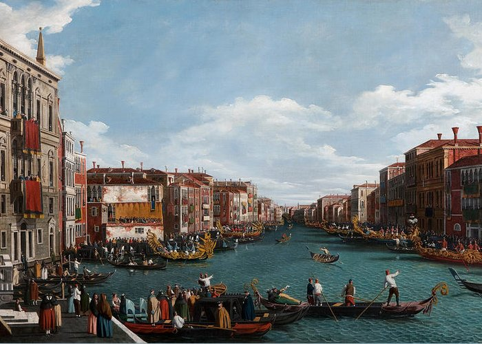 Venice; Grand Canal; Town; City; Urban; Vedute; Traffic; Busy; View; Gondola; Gondolas; Gondoliers; Gran; Gondolier; Italy; Italian; Venetian; House; Houses; Facade; Facades; Colourful; Banner; Banners Greeting Card featuring the painting The Grand Canal At Venice by Antonio Canaletto
