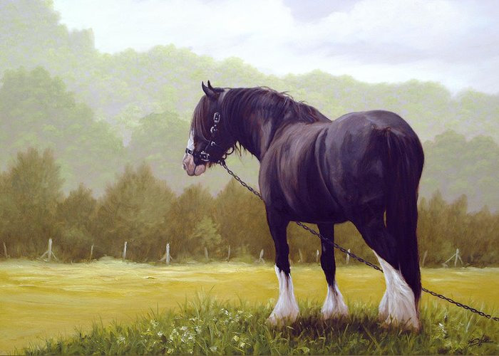 Horse Paintings Greeting Card featuring the painting The Grass Is Greener by John Silver