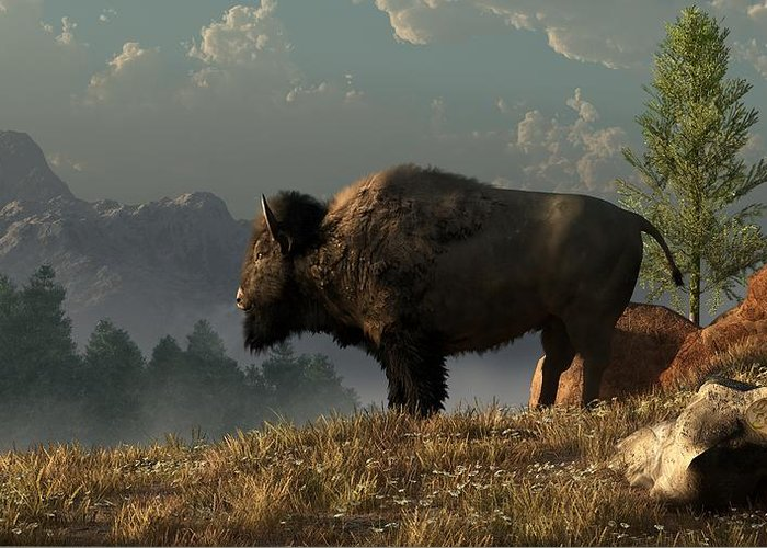 Bison Greeting Card featuring the digital art The Great American Bison by Daniel Eskridge