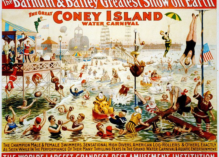 Coney Greeting Card featuring the digital art The Great Coney Island Water Carnival by Georgia Fowler