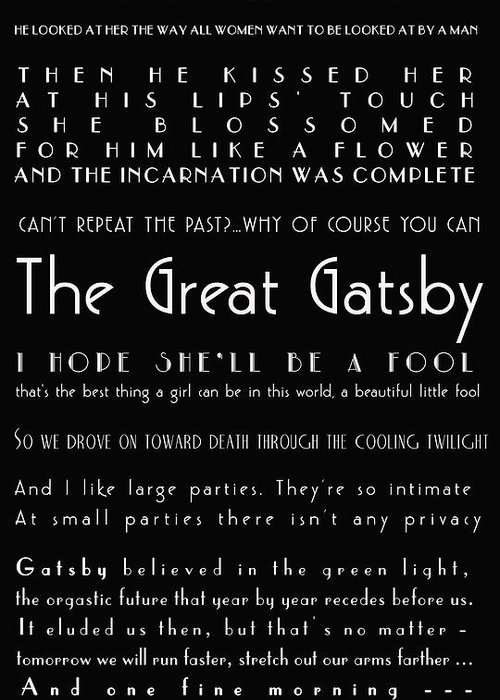 Great Gatsby Quotes The Great Gatsby Quotes Greeting Card for Sale by Georgia Fowler Great Gatsby Quotes
