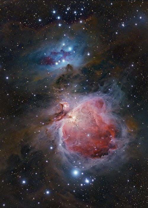Astrophotography Greeting Card featuring the photograph The Great Orion Nebula by Alex Conu