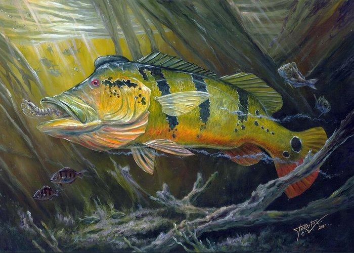 Peacock Bass Greeting Card featuring the painting The Great Peacock Bass by Terry Fox