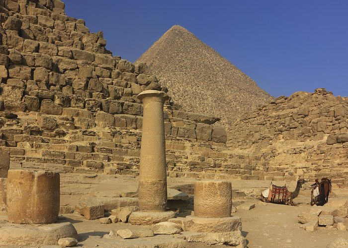 Africa Greeting Card featuring the photograph The Great Pyramids Giza Egypt by Ivan Pendjakov