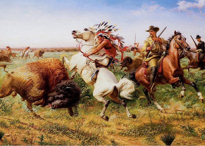 Louis Maurer Greeting Card featuring the painting The Great Royal Buffalo Hunt by Louis Maurer