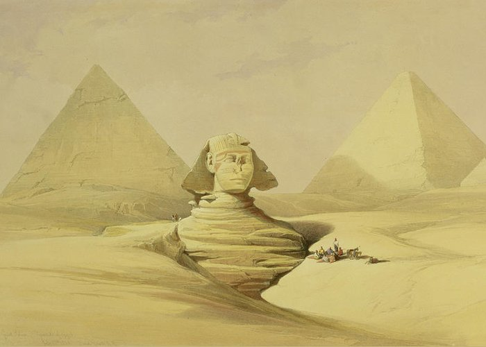 Desert Greeting Card featuring the painting The Great Sphinx And The Pyramids Of Giza by David Roberts