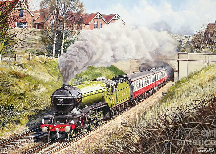 Train Greeting Card featuring the painting The Green Arrow by David Nolan