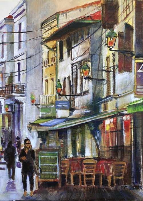 Landscape Greeting Card featuring the painting The Green Lights Of Agen by Shirley Peters