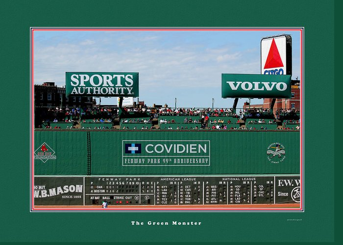Tom Prendergast Travel Destination America Greeting Card featuring the photograph The Green Monster Fenway Park by Tom Prendergast