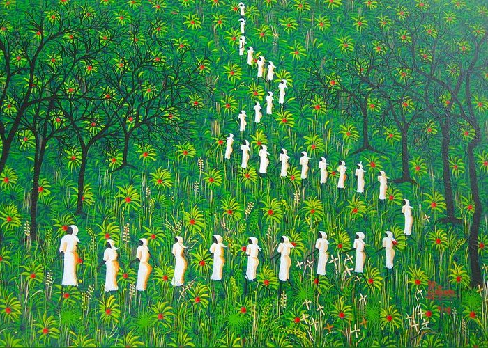 Greeting Card featuring the painting The Green Payages By Frantz Petion by Frantz Petion