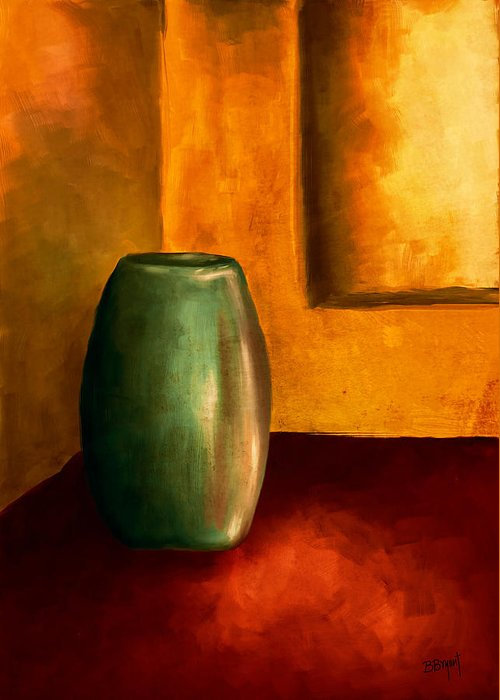 Vase Greeting Card featuring the painting The Green Urn by Brenda Bryant
